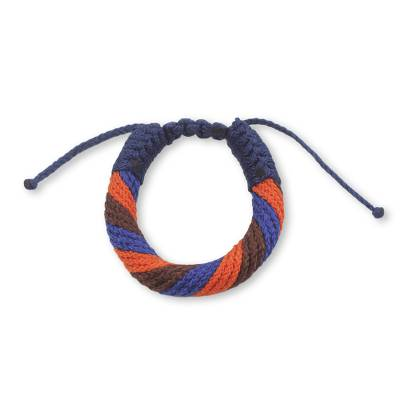 Men's wristband bracelet, 'Krobo Unity' - Unique Artisan Designed Men's Cord Bracelet from Ghana