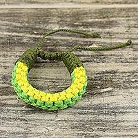 Men's wristband bracelet, 'Awindazi Green' - Hand Crafted Cord Wristband Green and Yellow Bracelet