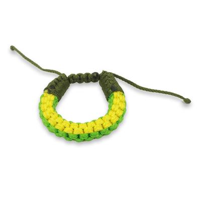 Men's wristband bracelet, 'Awindazi Green' - Hand Crafted Cord Wristband Green and Yellow Bracelet