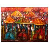 'Hot Durbar' - Signed Original Painting of Ashanti Festival Scene in Ghana