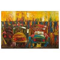 'Makola Street' - Contemporary Acrylic Painting of African Street Scene