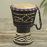 Wood mini djembe drum, 'Little Black' - Petite Black Hand Carved Djembe Drum