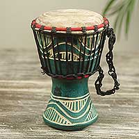 Wood mini djembe drum, 'Little Green' - Handcrafted 8-inch Green Wood Mini Djembe Drum