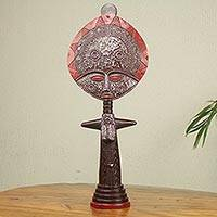 Wood sculpture, 'Akuaba I' - Artisan Crafted African Fertility Doll 24-in Wood Sculpture
