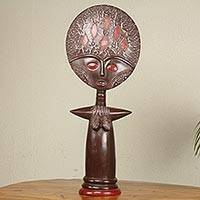 Wood sculpture, 'Akuaba II' - African Fertility Doll Hand Crafted 28-inch Wood Sculpture