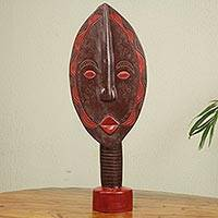 Wood sculpture, 'Leaf Spirit' - African Wood Mask Sculpture Carved by Hand