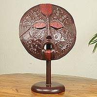 African wood mask, 'Fritete' - African Mask Wood and Aluminum with Tabletop Stand