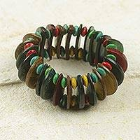 Coconut shell stretch bracelet, 'Forest Naa Awula' - Coconut Shell and Wood Beaded Stretch Bracelet