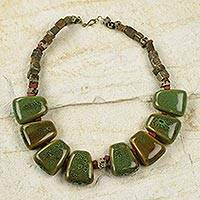 Ceramic and soapstone beaded necklace, 'Tatate' - Green Glazed Ceramic Necklace Hand Crafted in Ghana