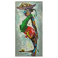 'Seller' - Woman with Fruit Tray Signed Painting from Ghana