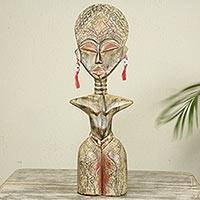 Wood sculpture, 'Detugbi' - Ewe Tribe Woman African Wood Sculpture with Aluminum