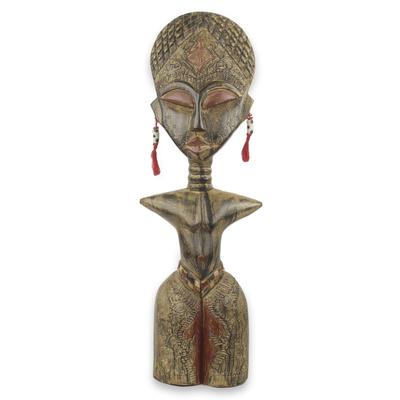 Wood sculpture, 'Detugbi' - Ewe Tribe Woman African Wood Sculpture with Aluminum