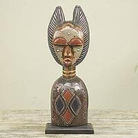 Wood sculpture, 'Obaapa' - African Woman Hand Carved Wood Aluminum Sculpture