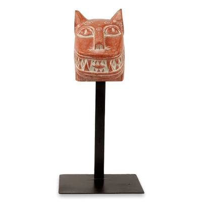 African wood mask, 'Fierce Leopard' - Wild Cat African Mask Sculpture with Stand
