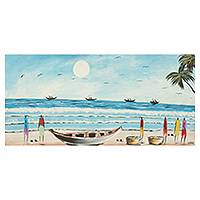 'Beach Scene' - Seashore Signed Original Painting by Ghanaian Artist
