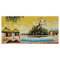 'Village Scene' - Signed Original African Village Painting