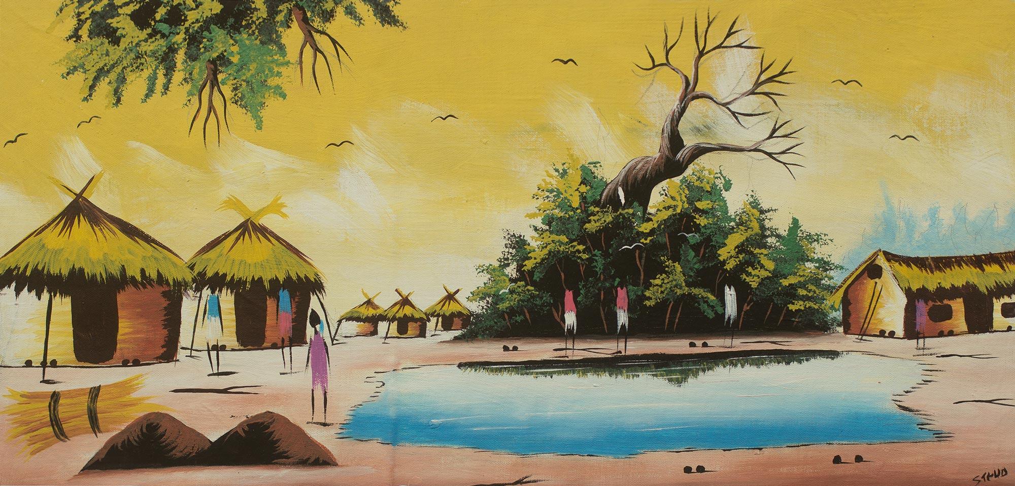 Signed Original African Village Painting Village Scene