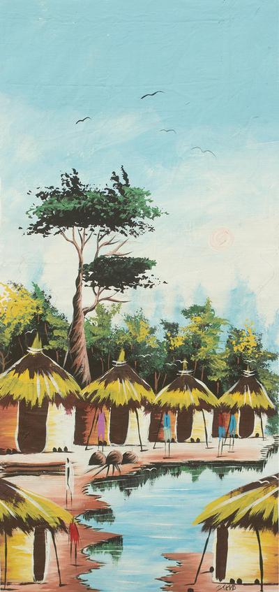 African Village Scene Original Painting The Village Stream Novica