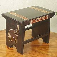 Wood stool, 'African Elephant' - Hand Crafted African Sese Wood Elephant Stool