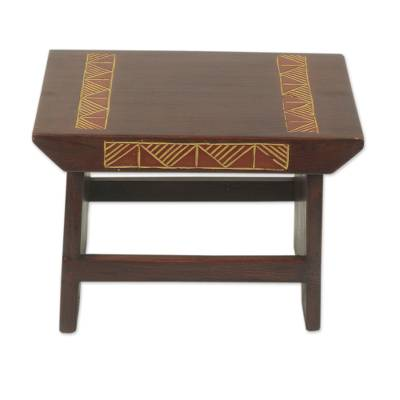 Wood stool, 'African Masks' - African Mask Theme Hand Crafted Sese Wood Stool