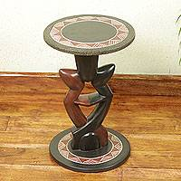 Wood accent table, 'Lovers Dance' - Handcrafted African Sese Wood Circular Accent Table