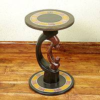 Wood accent table, 'Parent and Child' - Parent and Child African Handcrafted Wood Accent Table