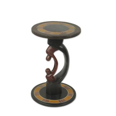 Parent and Child African Handcrafted Wood Accent Table
