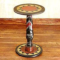 Wood accent table, 'Zulu Mask' - Artisan Crafted Mask Theme Handmade Wood Table