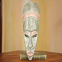 African wood mask, 'Akan Queen' - Original African Mask Hand Carved Wood in Olive Green