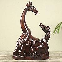 Wood sculpture, 'Mother Giraffe' - Hand Carved African Sese Wood Giraffe Sculpture