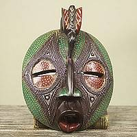 African mask, 'Talking Bird' - Ghana Bird Theme Hand Carved Green African Mask