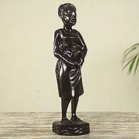 Wood sculpture, 'Akan Mother and Child' - Hand Carved Wood Sculpture of a Modern African Mom and Child