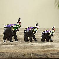 Wood sculptures, 'Proud Elephant Trio' (set of 3) - Beaded Wood Hand Carved Elephant Sculptures (Set of 3)