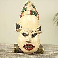 African wood mask, 'A Busy Mouth II' - Cream Color African Mask with Accents in Primary Hues