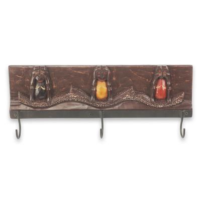 Wood coat rack, 'Three Wise Monkeys II' - Monkey Theme Coat Rack Artisan Crafted Wood and Aluminum