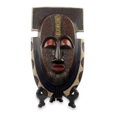 African wood mask and stand, 'Royal Posture' - Authentic African Mask and Stand from Ghana