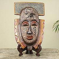 African wood mask and stand, 'Royal Elephant' - Elephant Theme Hand Made African Mask and Stand from Ghana