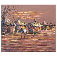 'Life in the Village Compound' - Ghanaian Sunset Landscape Painting Signed Artwork