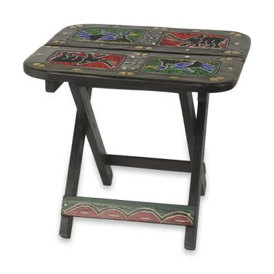 Wood beaded folding table, 'African Fauna' - Beaded Elephants and Ducks on Hand Carved Folding Table