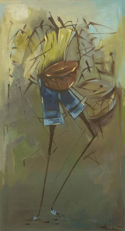 'Music Makers' - Original African Drummer Expressionist Painting from Ghana