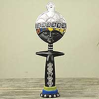 Wood sculpture, 'Akuaba of the Ashanti I' - African Fertility Doll Collectible Wood and Cotton Sculpture
