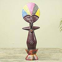 Wood sculpture, 'Ashanti Doll I' - Hand Carved African Two-Sided Wooden Figurine