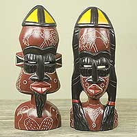 African wood masks, 'Love and Honor' (pair) - African Bride and Groom Masks for Wall or Table (Pair)