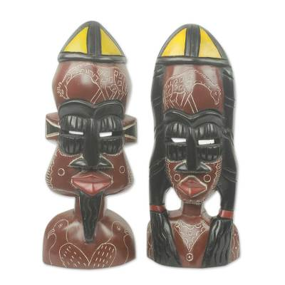 African Bride and Groom Masks for Wall or Table (Pair)