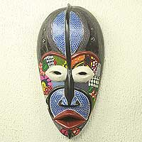 African wood mask, 'Atsala' - Original African Wood Mask with Cotton Prints