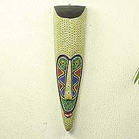African wood mask, 'Ngil Judge' - African Wood Judge Mask with Multicolor Glass Beads