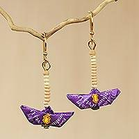 Recycled paper and terracotta dangle earrings, 'Purple Boats' - Sailboat Earrings Crafted by Hand with Recycled Paper