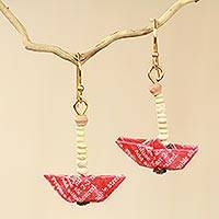 Recycled paper and terracotta dangle earrings, 'Red Boats' - Recycled Paper Red Sailboat Earrings Crafted by Hand
