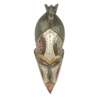 African wood mask, 'The Earth is Potent' - Artisan Carved Authentic African Mask from Ghana
