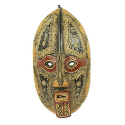 African wood mask, 'Spirit Talker' - Ornate Hand Crafted Malian African Mask